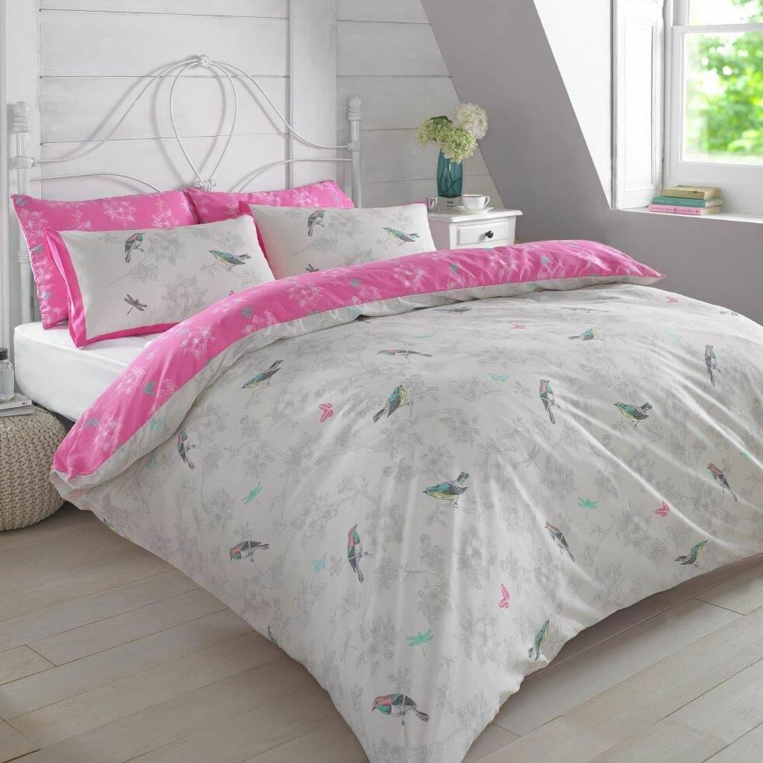 VINTAGE BIRDS PINK DOUBLE DUVET COVER SET & PILLOWCASES 2 DESIGNS IN 1 NEW