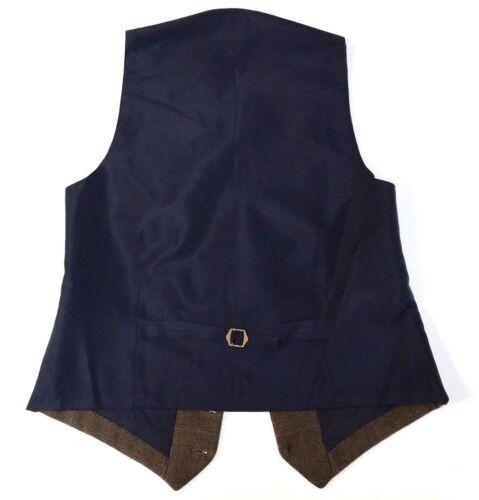 Paese Tweed Panciotto Vestito Gilet Spina di Pesce Verde con Check Blu Chiaro