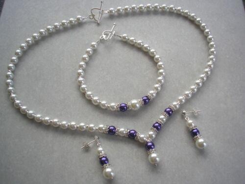 2drs Cream /& Purple Pearl Necklace Bracelet /& Stud Earrings Set for women brides