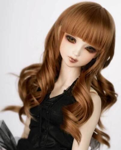 """1//4 7-8/"""" BJD Doll Wig Auburn Brown Curly Curls Wavy Hair Medium Long Youthful Q5"""