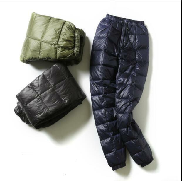 Mens Unisex Ultralight Down Adult Outdoor Winter Slim Fit Trousers Pants Leisure