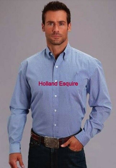 HOLLAND ESQUIRE  LONG SLEEVE COTTON SHIRT GEO COLLAR 17'' EASTER GIFT