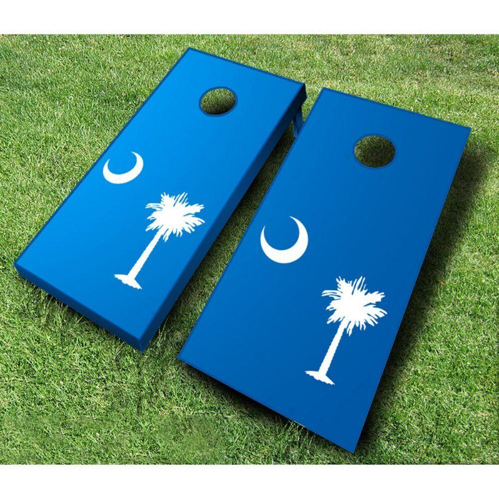 South Carolina Flag Tournament  Cornhole Set, Turquoise & Baby bluee Bags  high quality