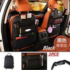 Black - Car Seat Back Bag Organizer Storage Cup Phone ipad Holder Pocket Leather
