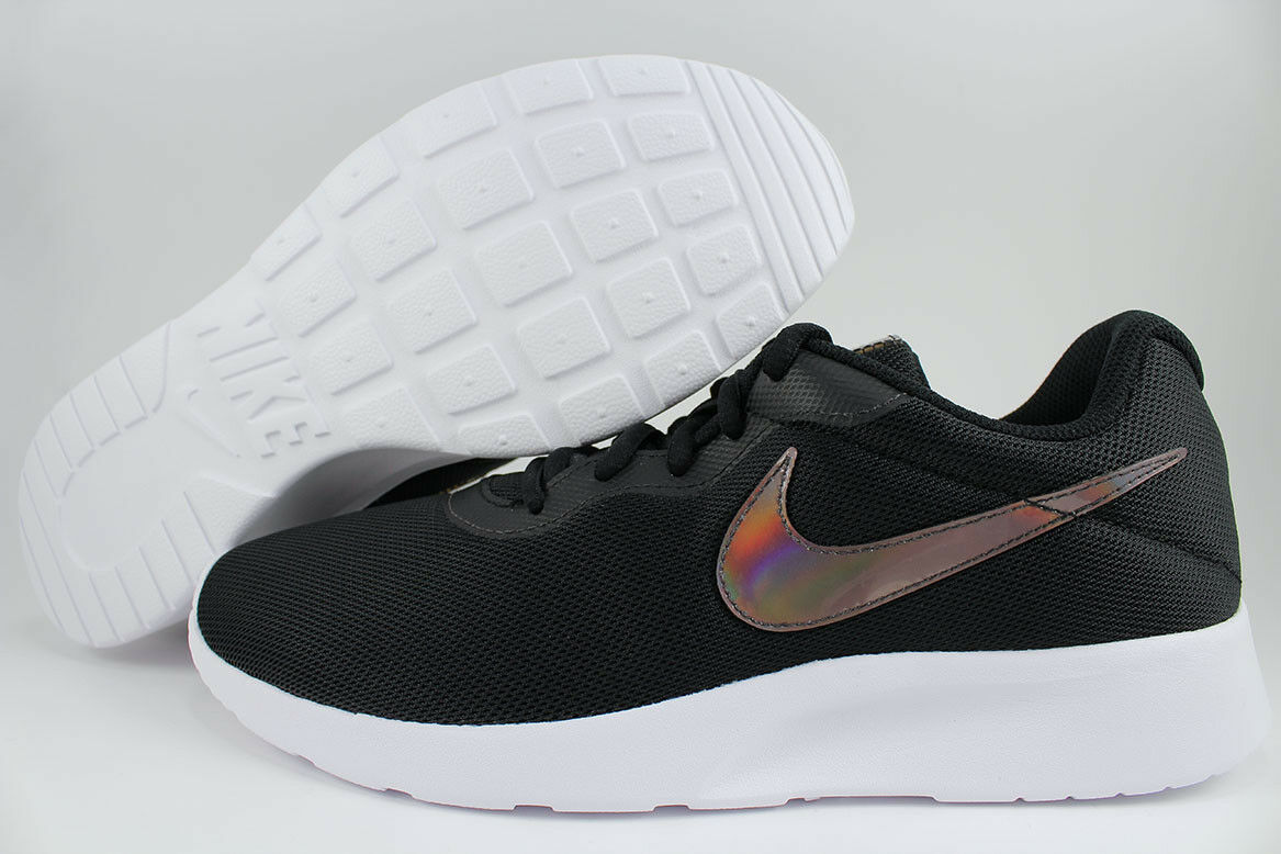 NIKE TANJUN BLACK WHITE IRIDESCENT RAINBOW SWOOSH ROSHE ONE RUN RUNNING WOMEN SZ