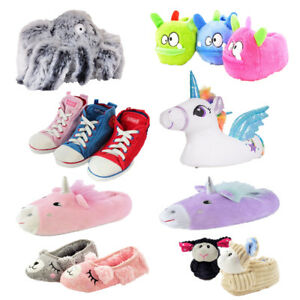 Childrens Girls 3D Unicorn Llama Camel Novelty Animal Slippers Brown Size 9-12