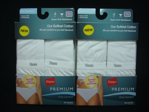 8 Hanes Premium Women/'s Size 7 HI-Cuts Soft Waistband Pure Comfort White 2 Packs