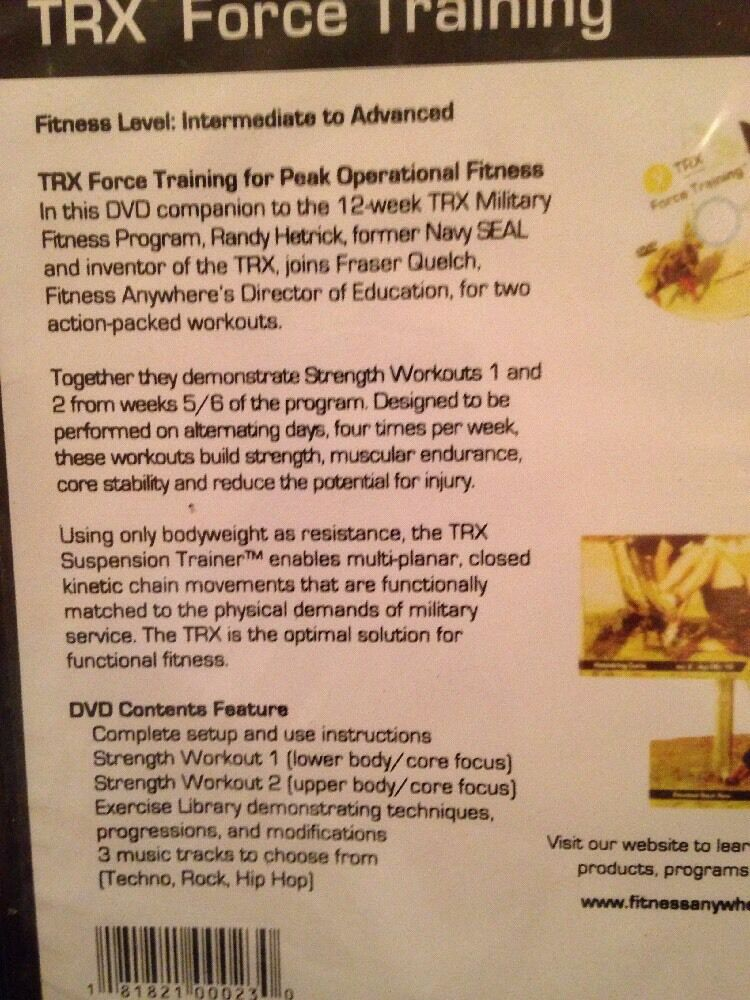 TRX Military Force Suspension Training Fitness Program DVD Only B1