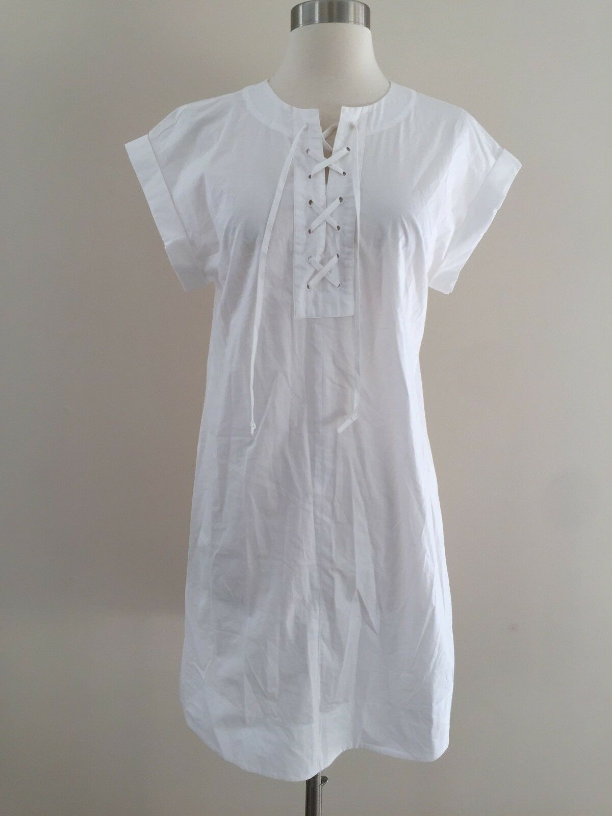 NEW Jcrew Lace Up Cotton Shirt Dress Weiß G5359 SUMMER 2017 S SOLD-OUT