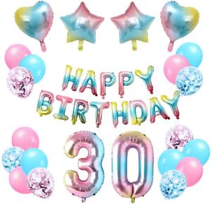 Happy Birthday Banner Star /& Heart onehous 30th Rainbow Birthday Decorations
