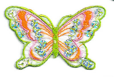 BUTTERFLY ORANGE/GREEN W/SEQUINS IRON ON APPLIQUE