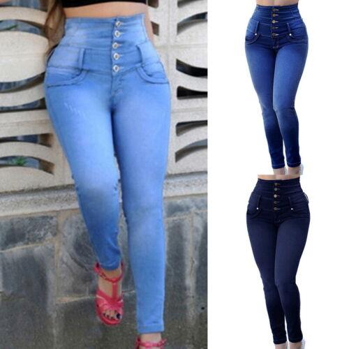 Women High Waist Skinny Denim Jeans Stretch Pants Calf Length Jean