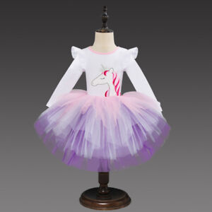 US-Stock-Flower-Girls-Unicorn-Party-Long-Sleeve-Tutu-Princess-Party-Dress-O34