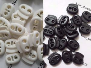 Plastique Noir Cord Serrures bouchon à bascule avec cordon de serrage cordon stop 5-20 Blanc
