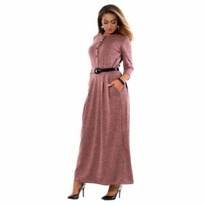 Details about Maxi Dress Women Elegant Long Sleeve Office Work Girl Plus  Size Clothing Dresses