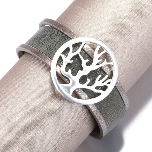 Unisex Alloy Tree of Life Leather Bangle Charm Wrap Cuff Bracelets Women Fashion