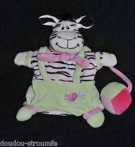 Doudou-Marionnette-Zebre-BABY-039-NAT-BABYNAT-Blanc-Noir-Vert-Ballon-Balle-NEUF