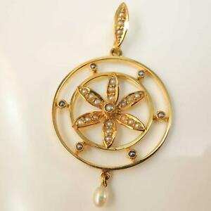 15ct-Gold-Victorian-Edwardian-Yellow-Gold-Seed-Pearl-Pendant