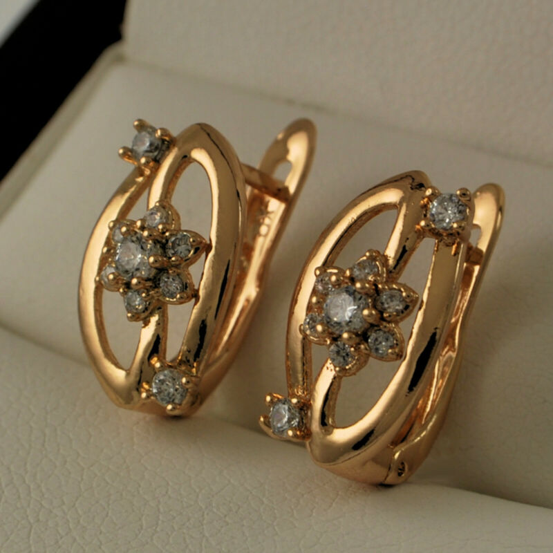 18ct Gold Filled Flower Petal Clear Cubic Zirconia Cz Drop Hoop Earrings Uk 337