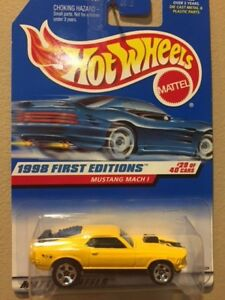 1998 Hot Wheels #670 First Edition #29 Ford Mustang Mach 1 yellow