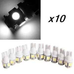 10-Bombillas-T10-5-L-039-eds-5050-SMD-168-194-W5W-Iluminacion-Coche-Blanco-frio
