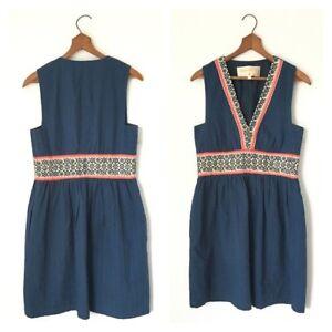 Bleu Marine Brodé Blanc Ethnique 0 Lauren Moffatt Rouge Anthropologie Dress TWCqWOB