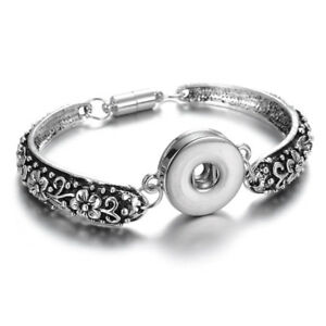 Silver Bangle Bracelet Drill Fit 18mm Noosa Snaps Button