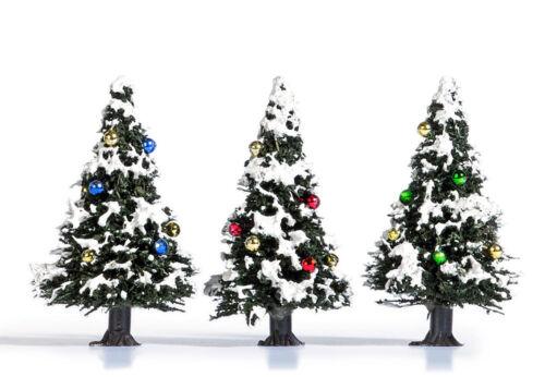 "Busch H0//TT 6464 /""3 Premium Weihnachtsbäume mit bunten Kugeln Neu"