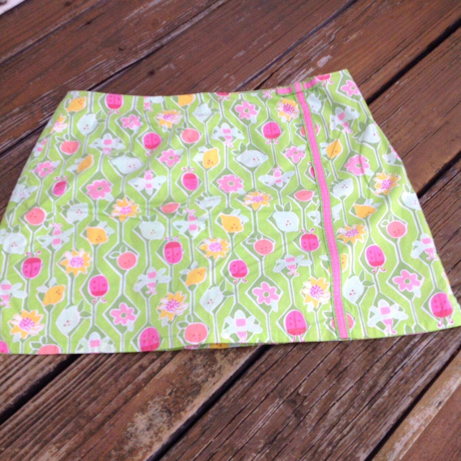 Vintage Lilly Pulitzer Ladybug Lennie Skort 12 Pink Green White Lbl Skirt Shorts