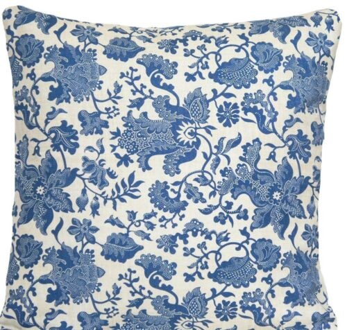 """Blue Cushion Cover Vintage Throw Pillow Case Oatmeal Printed Cotton Fabric 16/"""""""