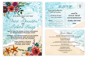 Image Is Loading Beach Seashell Wedding Invitations With Rsvp And Extra