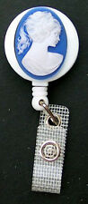CAMEO Retractable ID Card Badge Reel Holder/Key Chain/Security Ring Blue White