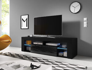 Black Modern Tv Unit 160 Cm Everest Tv Stand Cabinet Cupboard High