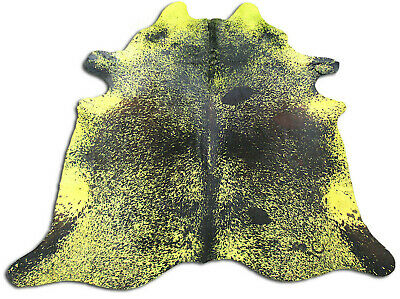 7.4/' X 7.5/' Dyed Mustard Yellow Cowhide Rug C-160 Yellow Cowhide Rug Size