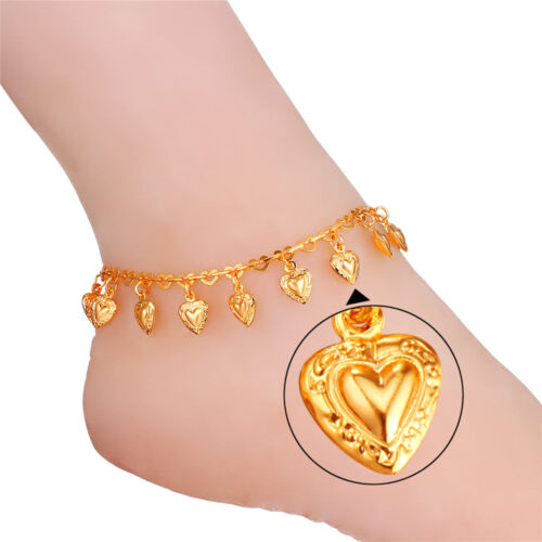 Cute Heart Charms Anklet 18K Gold //Platinum Plated Foot Ankle Bracelet for Girls