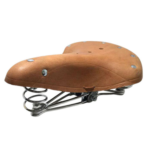 Classic Comfort Leather Bicycle Bike Saddle Seat with Springs Brown 26x21.5cm