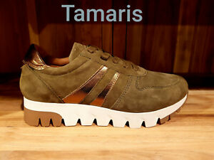 Details zu Tamaris Damen Sneakers Turnschuhe Schuhe Freizeit Olive Bronze Leder Neu