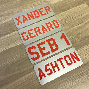 Image is loading Childrens-Personalised-Plastic-Number-Plate-Kids-Ride-On- & Childrens Personalised Plastic Number Plate Kids Ride On Electric ...
