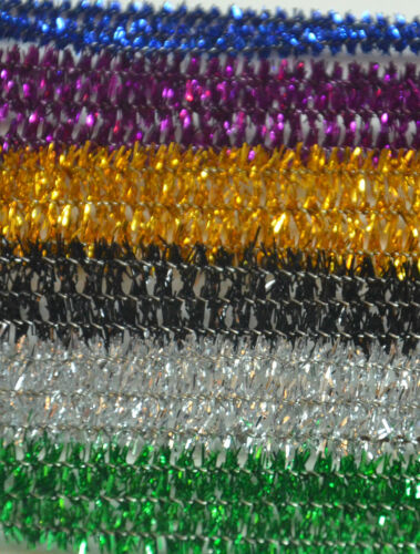 10 PIECE  30cm SPARKLY PIPE CLEANERS CHENILLE STICKS  FUZZY STEM MIXED COLOR