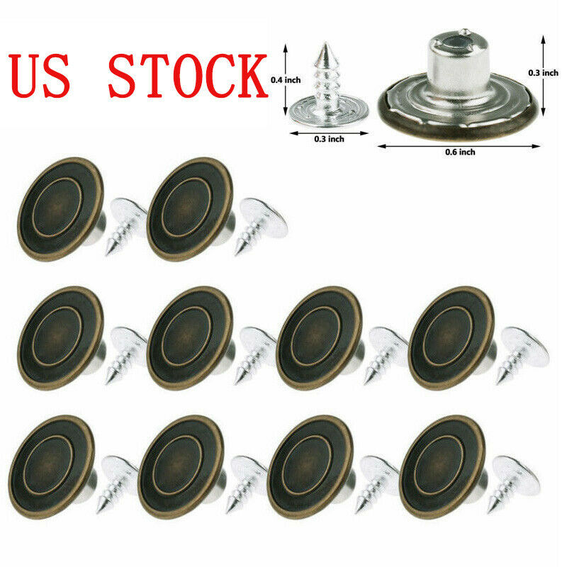 10X Metal Buttons Screw Nails Suspenders Replacement Instant Clothes Jeans Pants