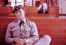 Vintage Slide 1960's US Air Force Handsome Airman with Recruiter in Background