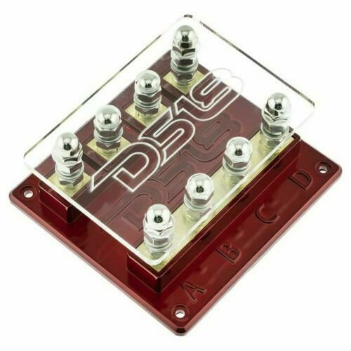 DS18 FH4W 4-Way Power Distribution Fuse Holder 12 Volt Red LED Power Indicator