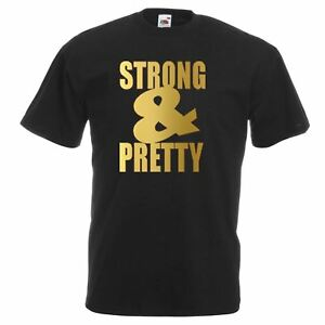 Unisex-Black-Strong-amp-Pretty-T-Shirt-Shirt-Weights-Lifting-Beauty