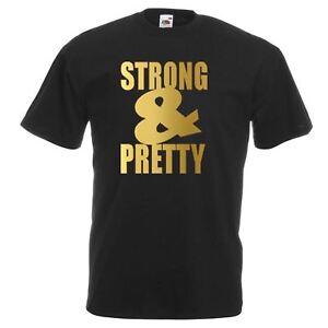 Unisex-Black-Strong-amp-Pretty-T-Shirt-Shirt-Weights-Lifting-Beauty