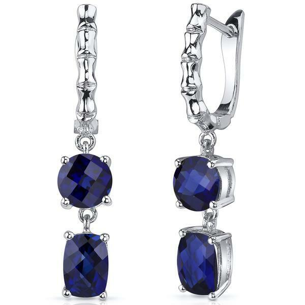 2Ct Cushion Round Cut bluee Sapphire Bamboo Drop Earrings 14K White gold Finish