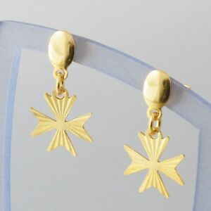 9ct-Gold-Drop-Dangle-Earrings-Malta-MALTESE-CROSS-of-St-John-Hallmarked-375