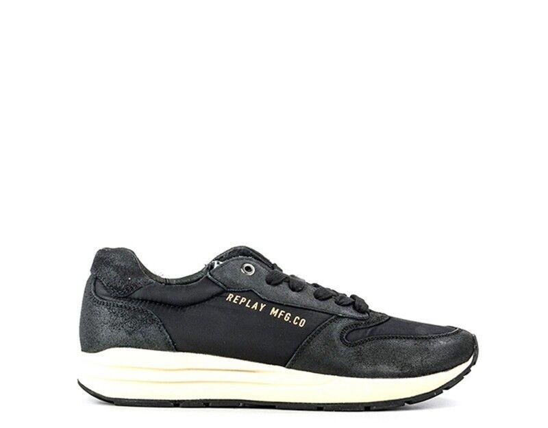 shoes REPLAY men Sneakers trendy  black Pelle naturale,Tessuto RS310002S