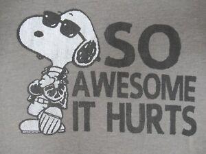 Peanuts-Cool-Snoopy-So-Stupenda-It-Fa-Male-Medio-Grigio-T-Shirt-C651