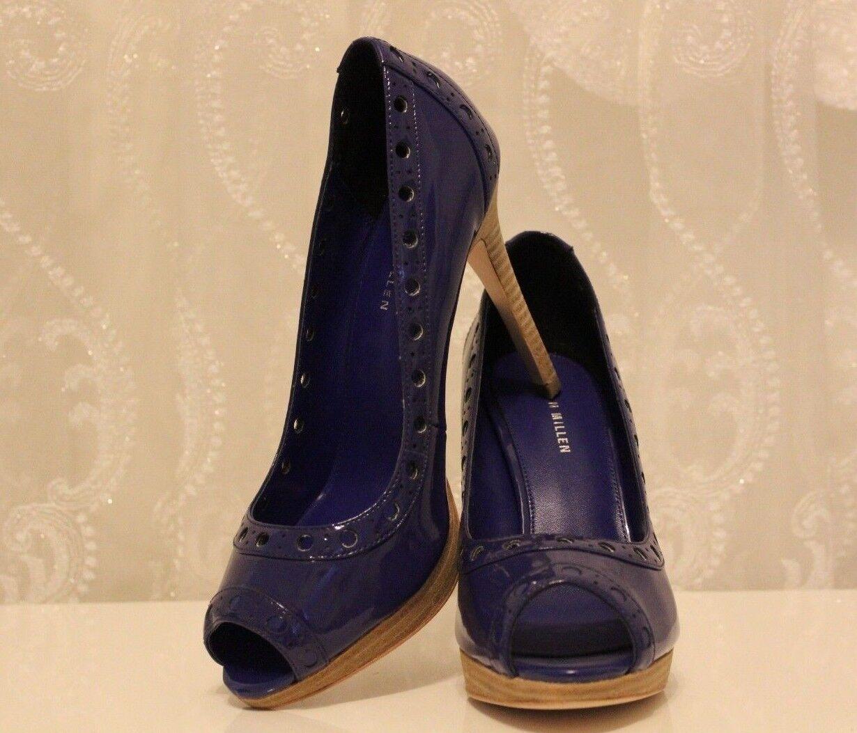 Karen Millen FN030 Cuir Verni Cut Out Peep Toe Bleu Fête Chaussures UK 6 EU 39