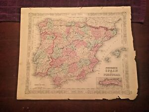 1863-Johnson-amp-Ward-Hand-Colored-Atlas-Map-of-SPAIN-AND-PORTUGAL